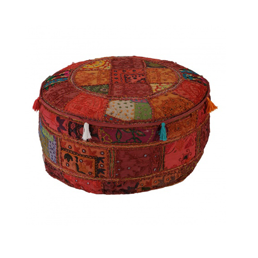 Home Centre Clasa Round Pouffe with Embroidery - 56x56 cms