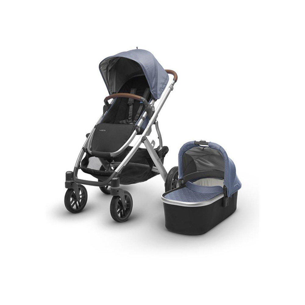 Uppababy Vista Stroller 2017 - Silver Frame + Leather Accents