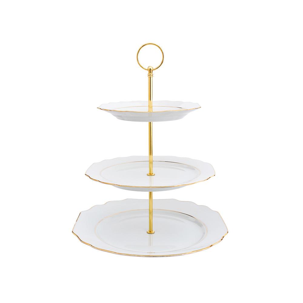 Porcel 3 Tier Stand Golden 27cm