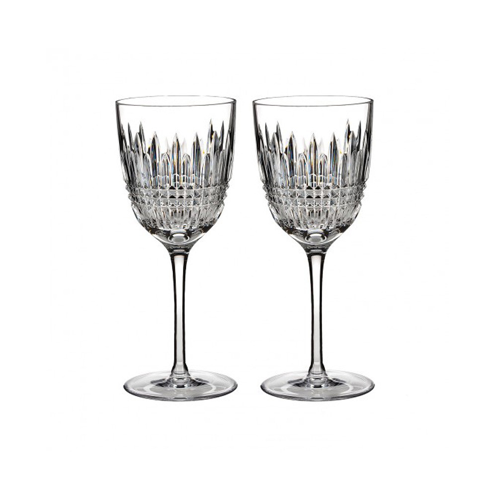 Waterford Lismore Diamond White Glass 2pcs