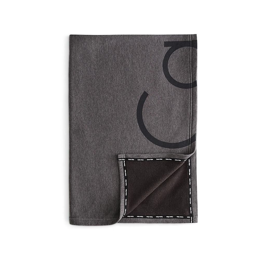 Calvin Klein Throw Charcoal 127x178 Modern Cotton Cropped Logo