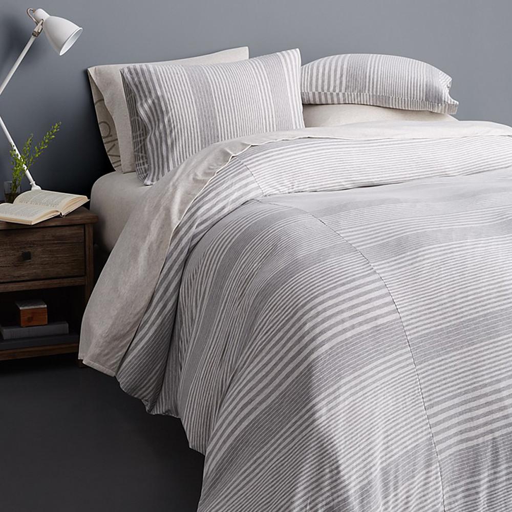 Calvin Klein Duvet Cover Grey 140x200 Modern Cotton Jersey Rhythm