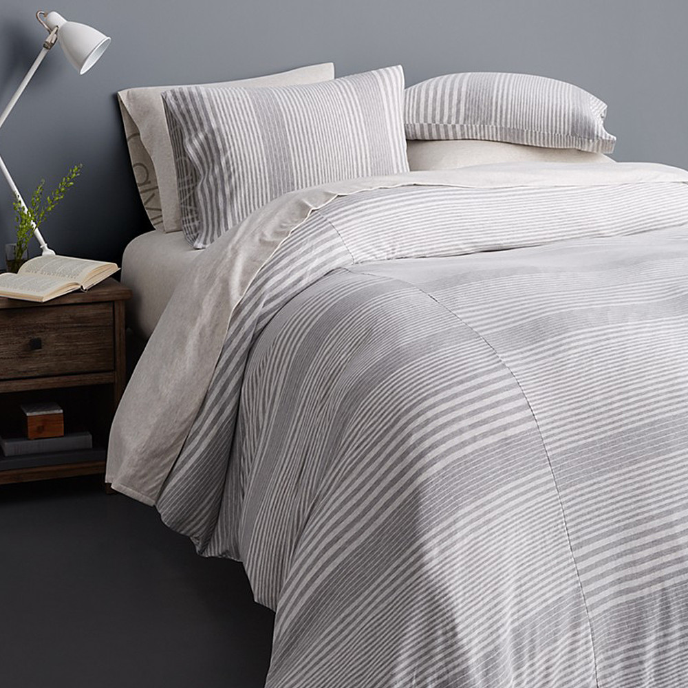 Calvin Klein Duvet Cover Grey 240x220 Modern Cotton Jersey Rhythm