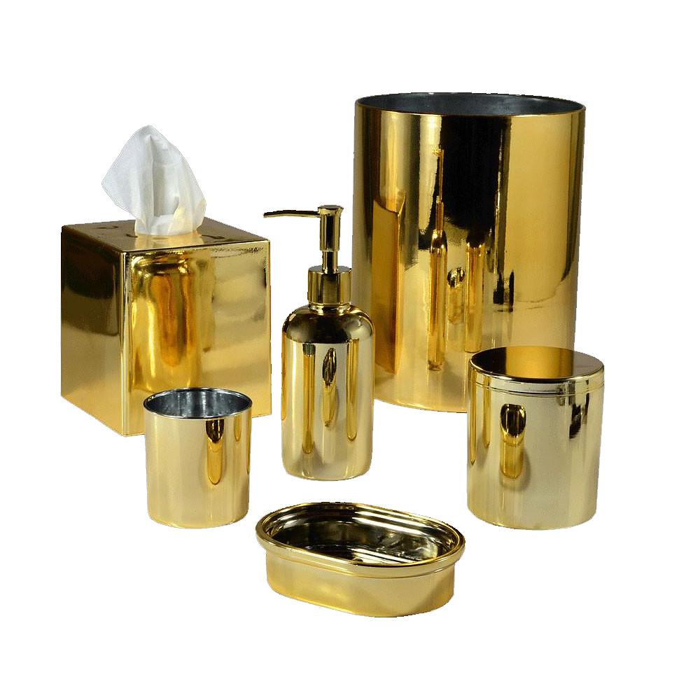 Mike & Ally Nova Glass Wastebasket Gold