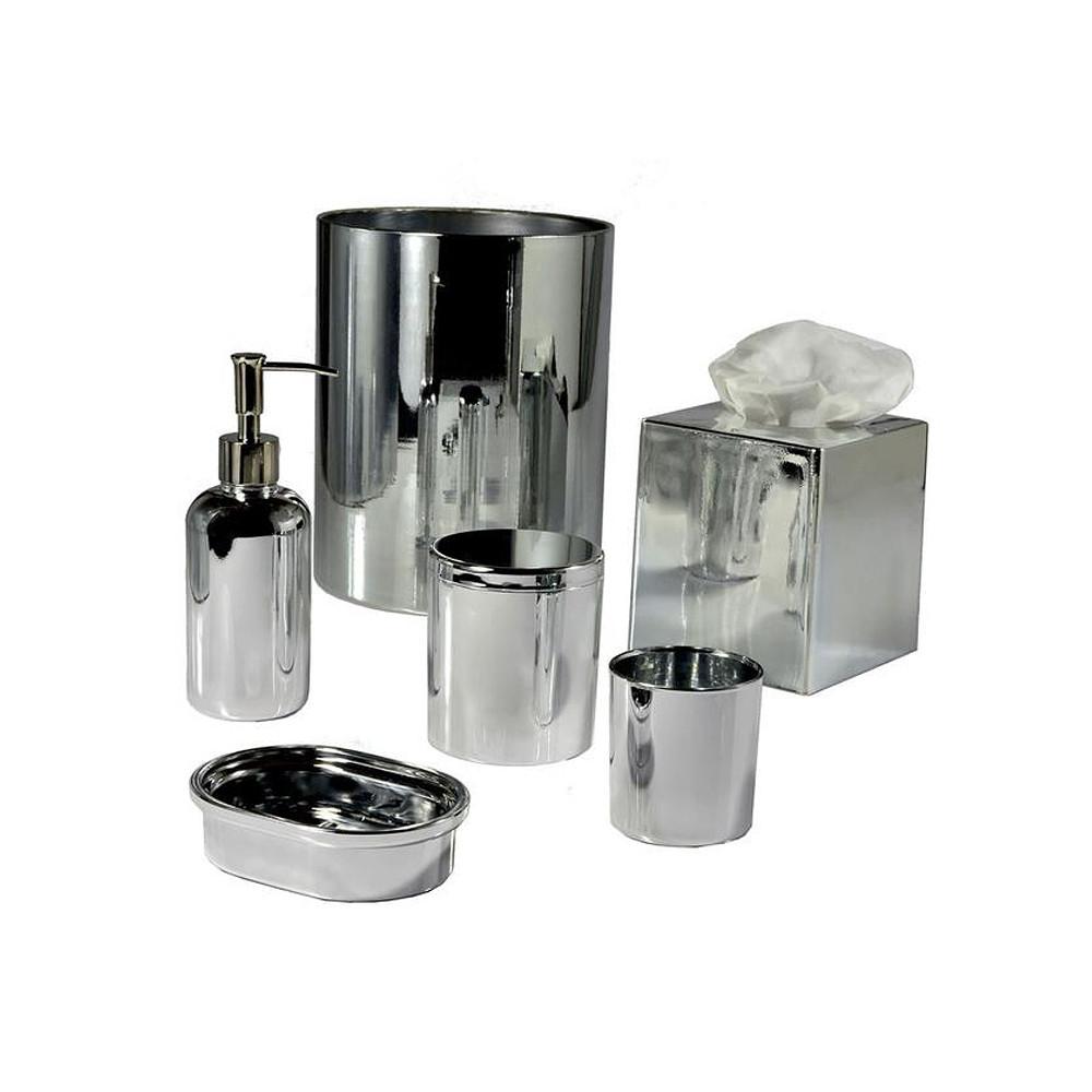 Mike & Ally Nova Glass Wastebasket Silver