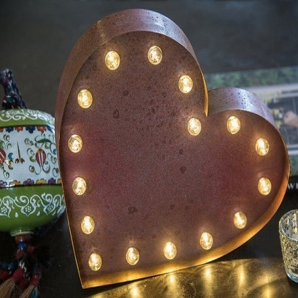 Lights & Letters Marquee Symbol Rusty Heart