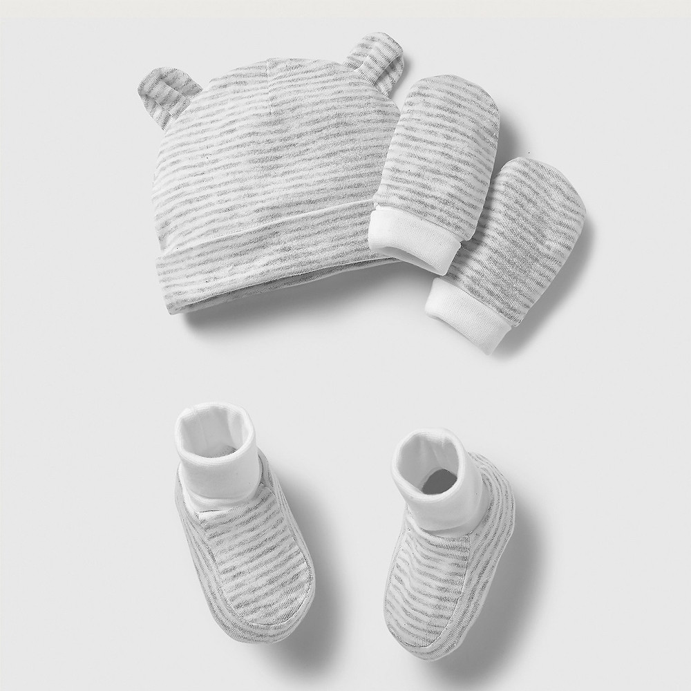 The White Company Stripe Hat, Mitt & Bootie Set - White Grey