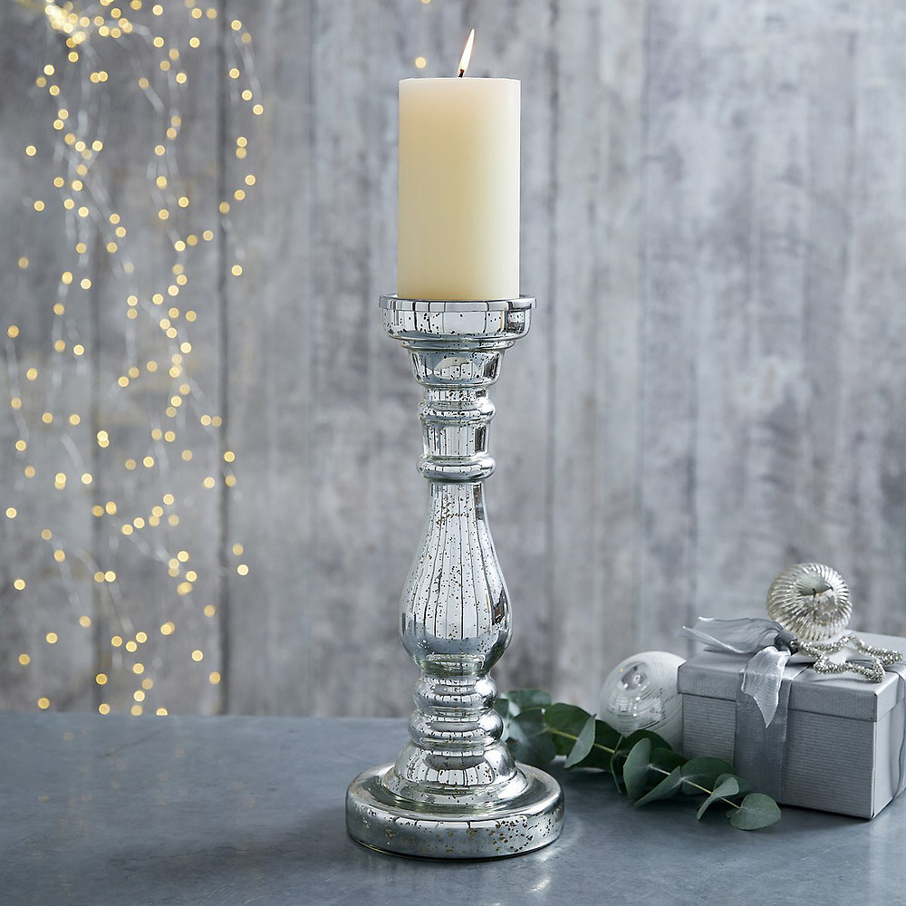 The White Company Mercury Pillar Large Candle Holder -Silver
