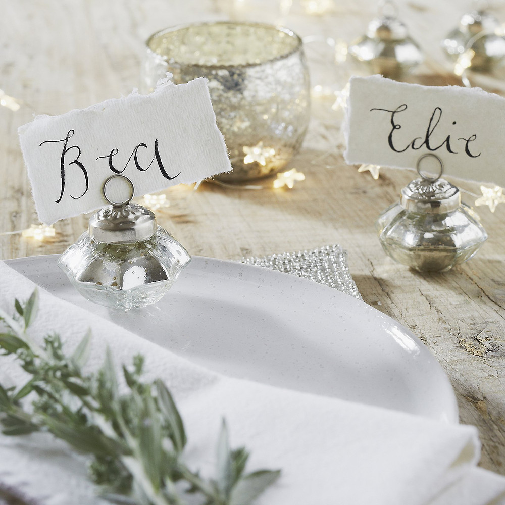 The White Company Mini Place Card Holders - Set Of 6 -Silver