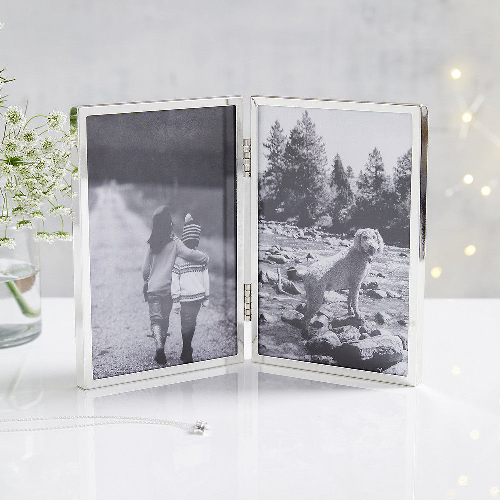 The White Company Fine Silver Hinged Photo Frame 4x6 -Silver