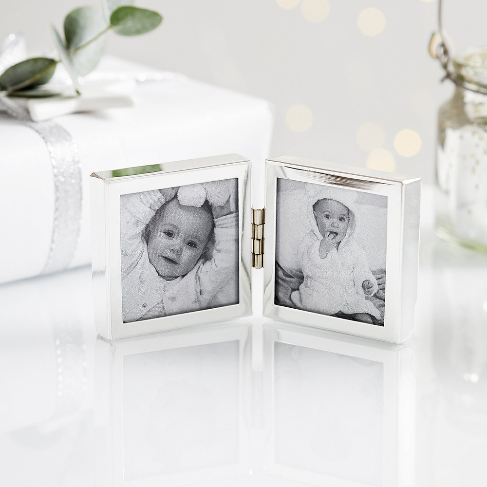 The White Company Fine Silver Hinged Photo Frame 2x2 -Silver
