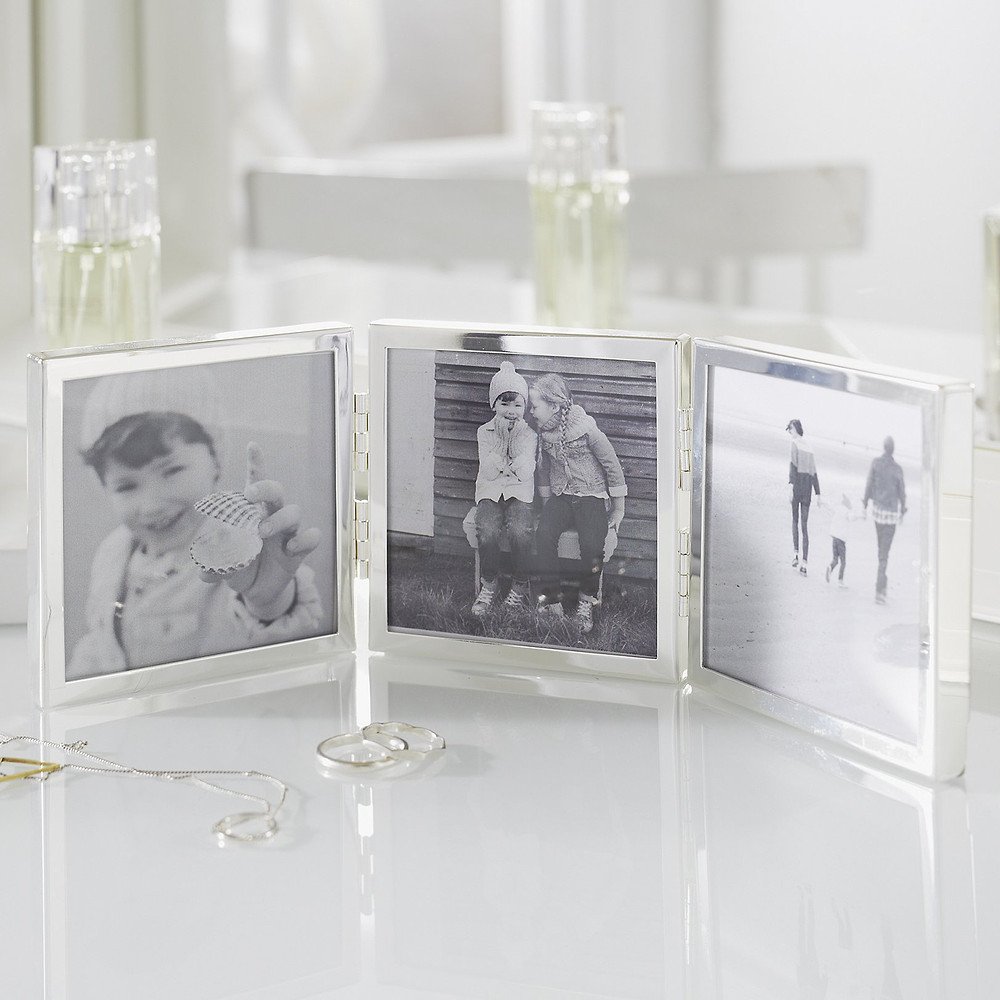 The White Company Fine Silver Triple Aperture Hinged Photo Frame 3x3 - Silver