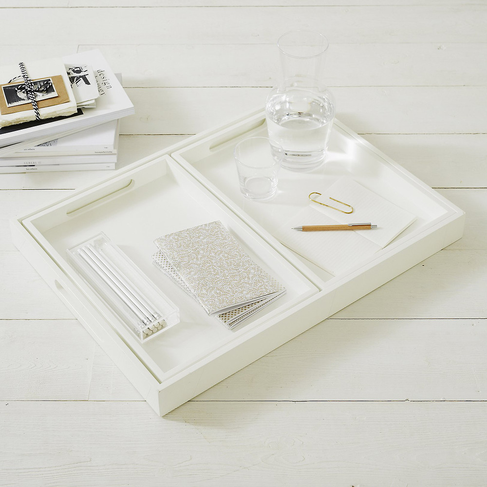 The White Company White Lacquer Trays - Set Of 3 - White