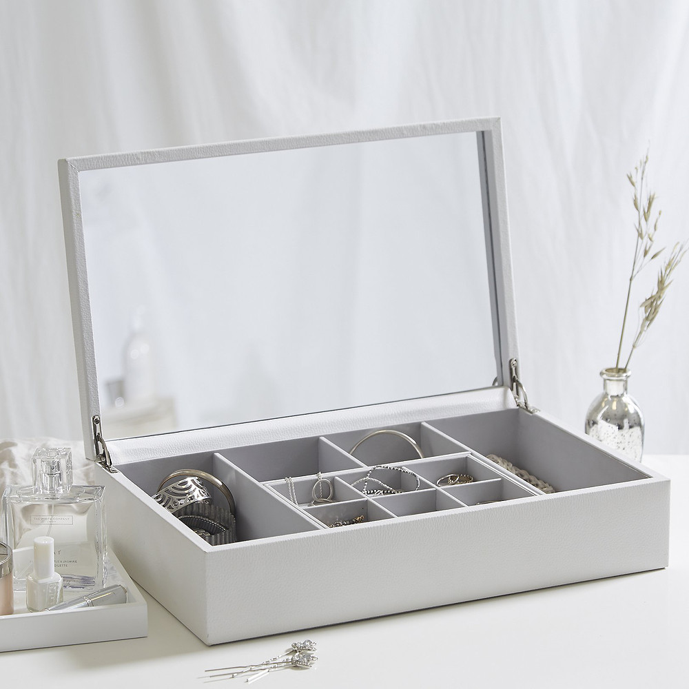 The White Company Leather Ultimate Jewellery Box -White