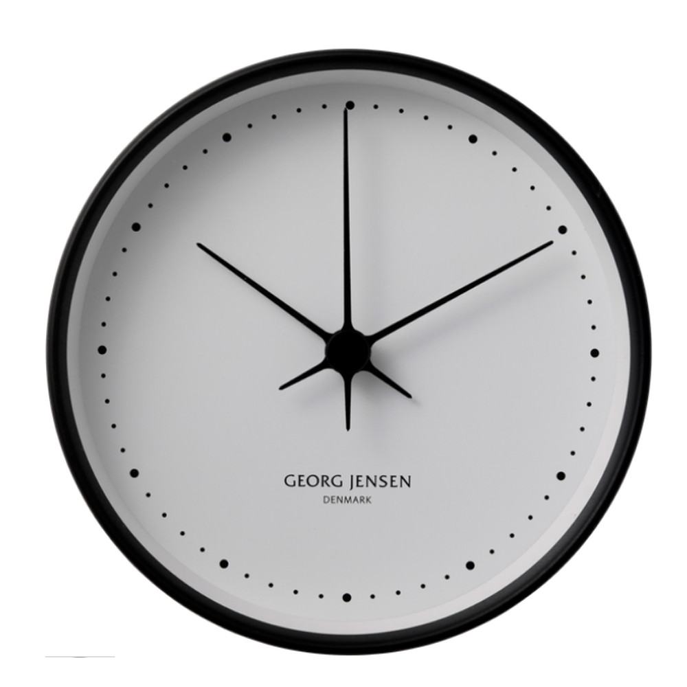 Georg Jensen Koppel Wall Clock Black w/ White Dial 22cm