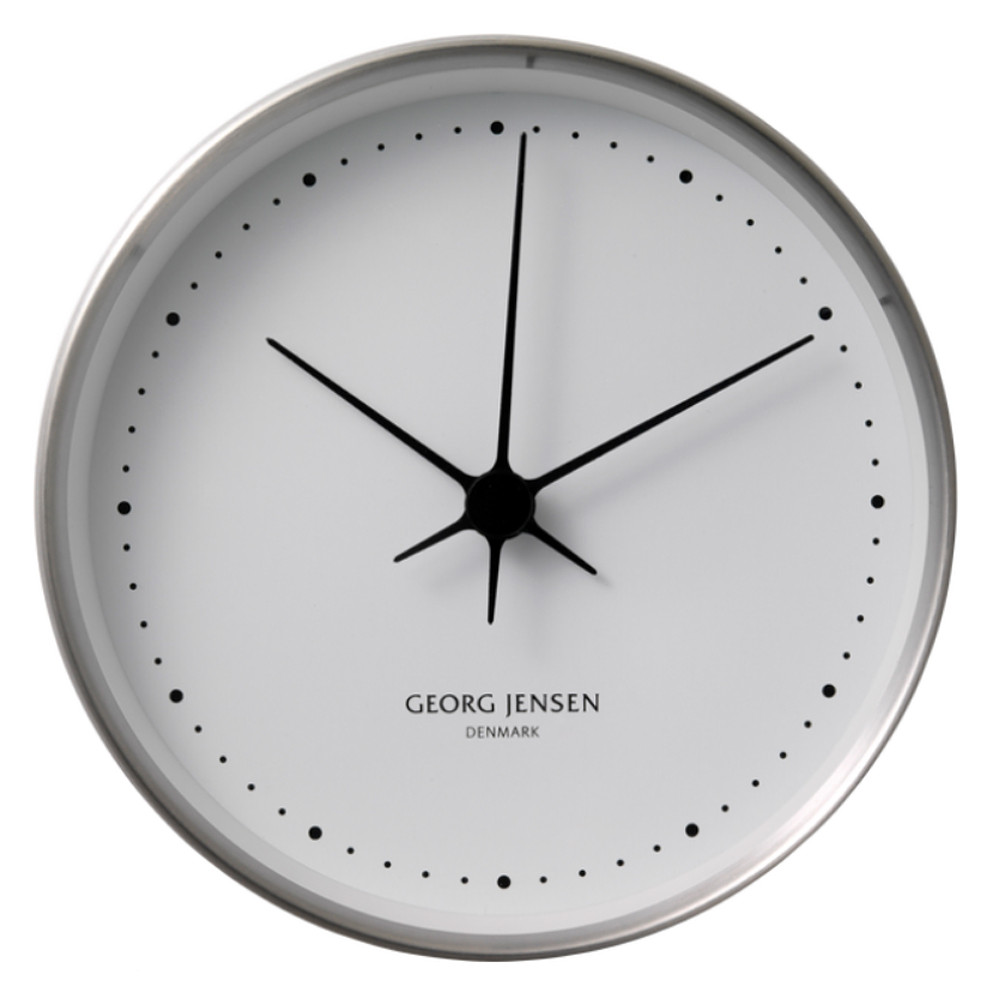 Georg Jensen Koppel Wall Clock Stainless Steel With White Dial 22cm
