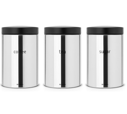 Brabantia Storage Canisters for Coffee, Tea and Sugar