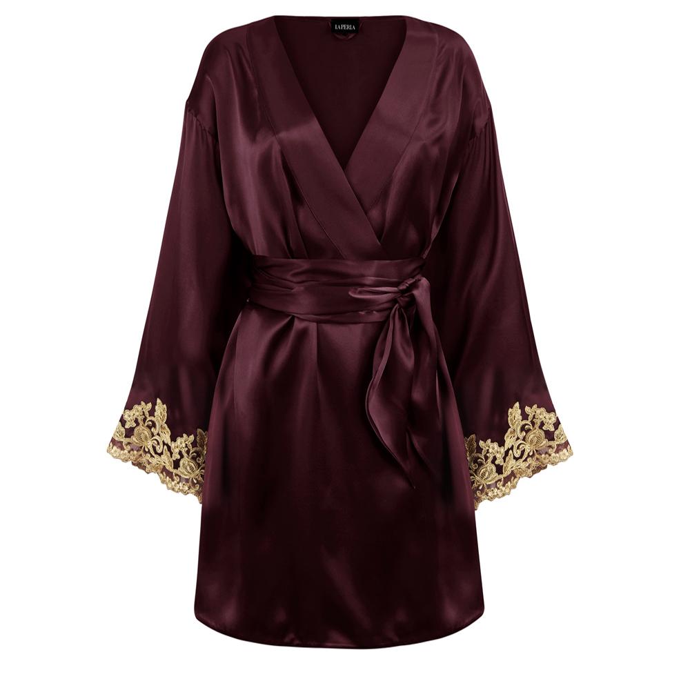 Maison Silk Satin Short Robe With Frastaglio