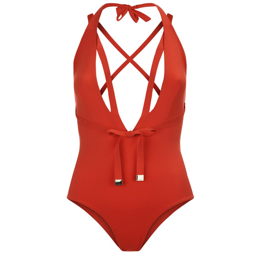 Aquamarine Plunging Halter-neck Swimsuit With Waist Ties