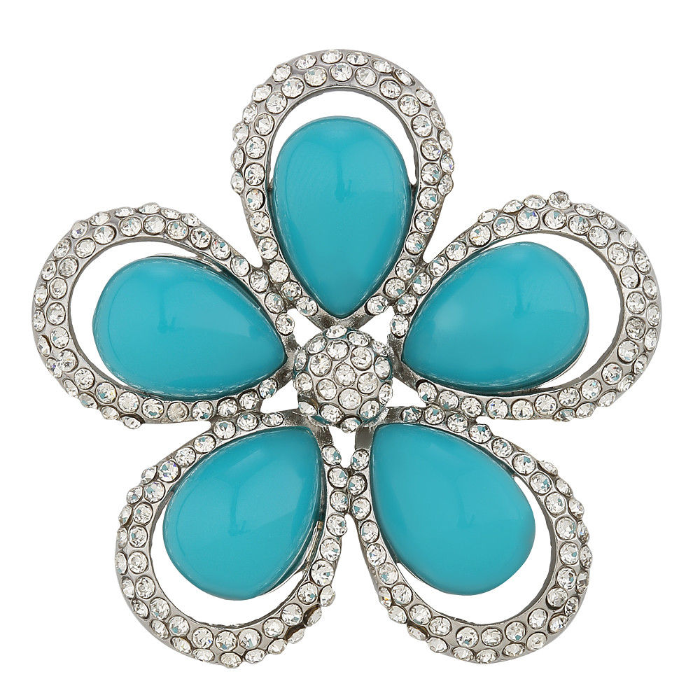 Asfour Crystal Floral Blue Brooch