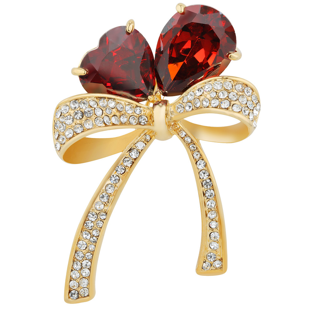 Asfour Crystal Red Flower Brooch