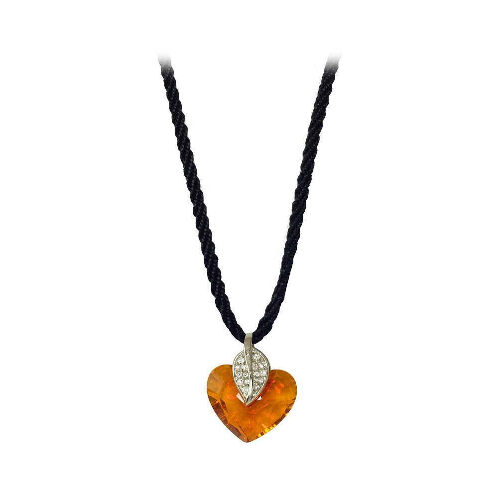 Asfour Crystal Shiny Heart Neckless