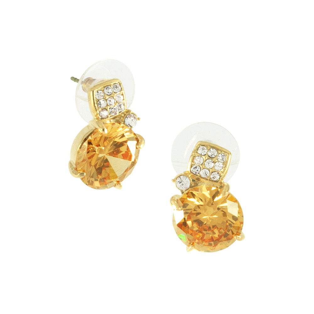 Asfour Crystal Elegant Gold Earring
