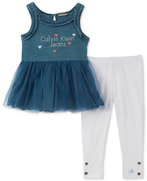 Denim & Tulle Tunic & Leggings Set - 2pcs