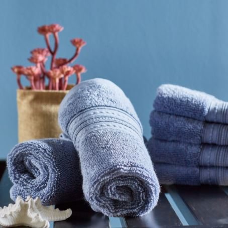 Infinity Finger Tip Towel Set of 6 -Slate Blue