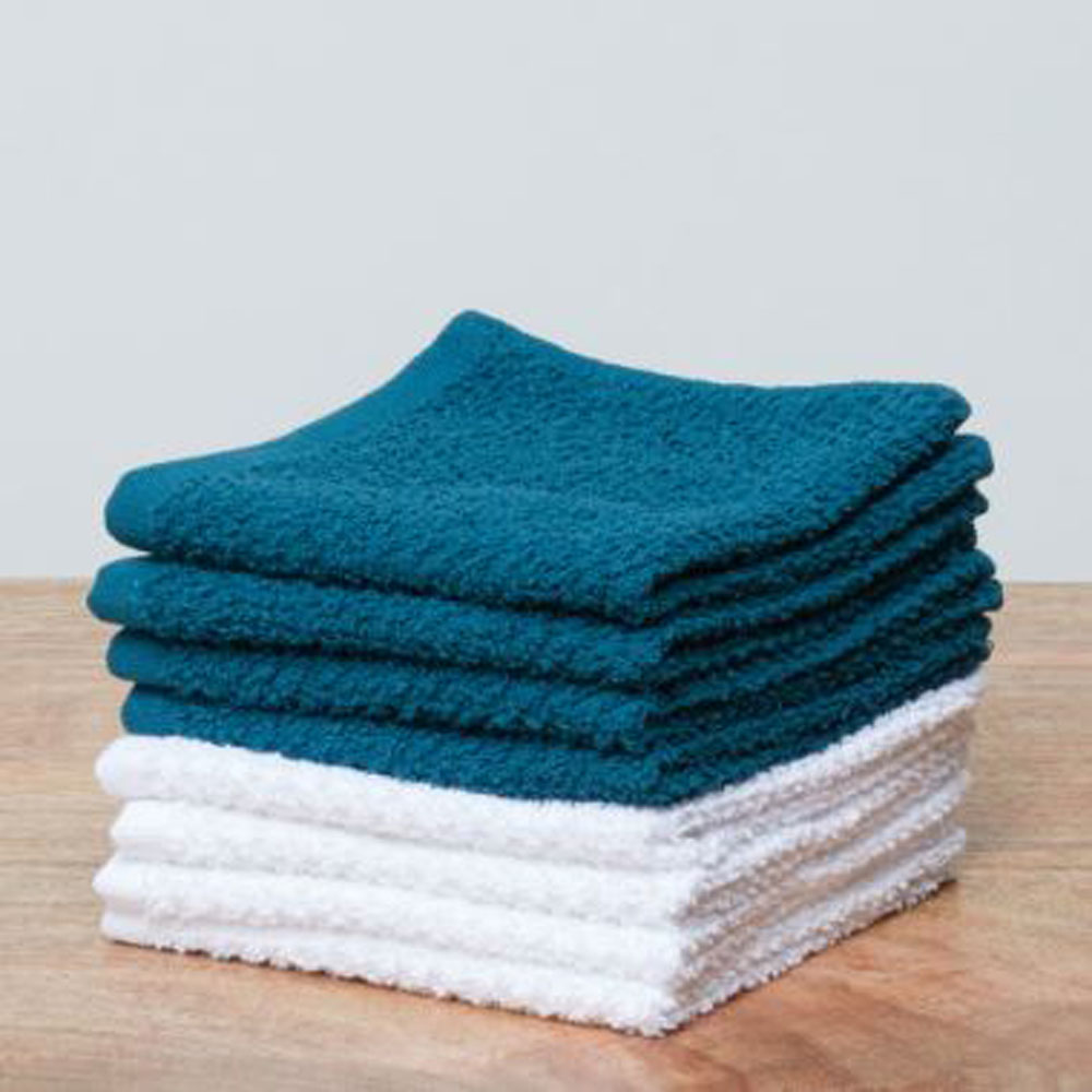 Day to Day Face Towel White/Teal- Set of 8