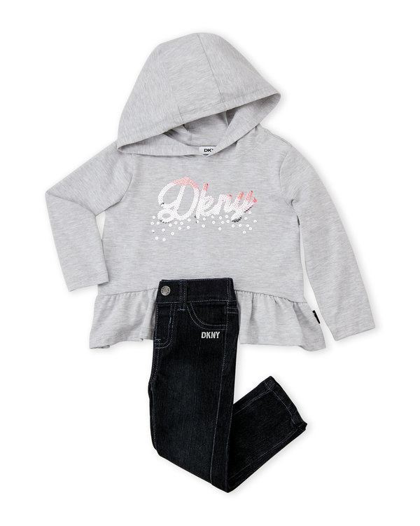 Sequin Logo Hooded Top & Skinny Jeans Set