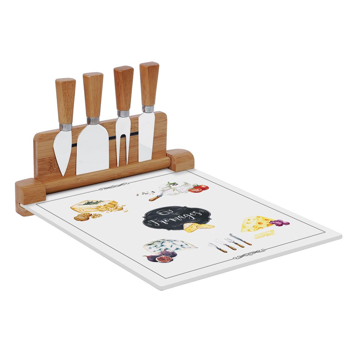 Cheese Cutting Board with 4 Knives