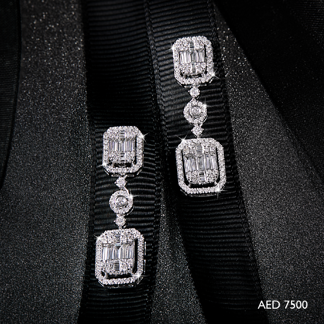 Emerald Cut Hanging Earrings
