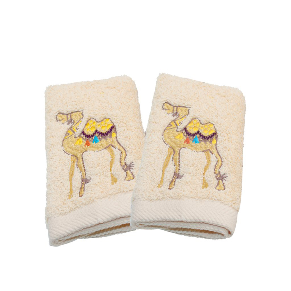 Guest Towels Camel Set of 2, Off White