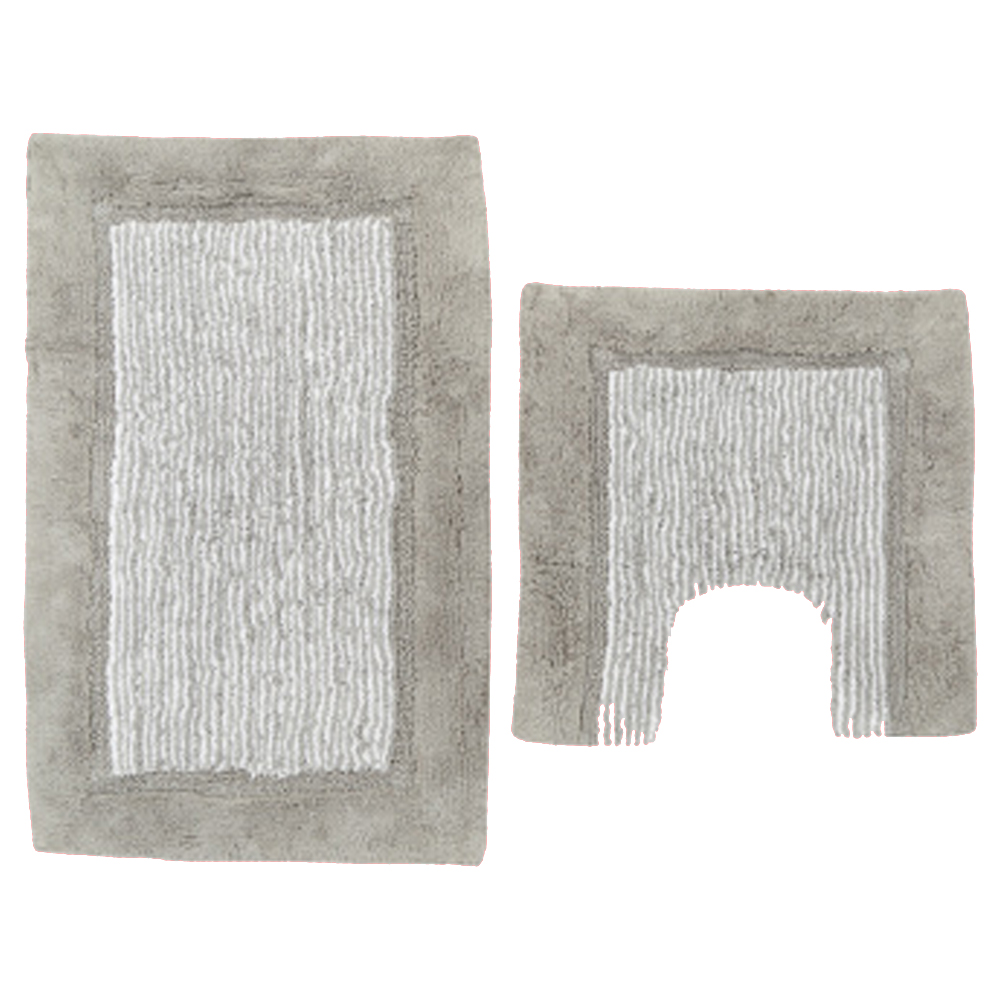 Geo Striped Bathmat and Contour Mat Set - Grey