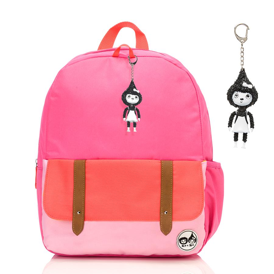 Zip and Zoe Junior Kid's Backpack (4-9Y) Hot Pink Colour Block