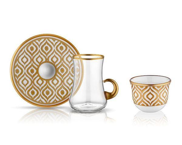 Ikat Tea Glass with Saucer 6sets Gold