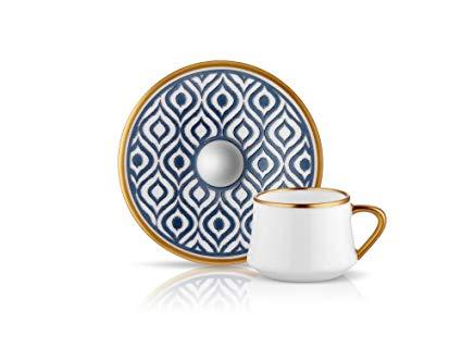 Ikat Turkish Coffee C&S 6sets Blue