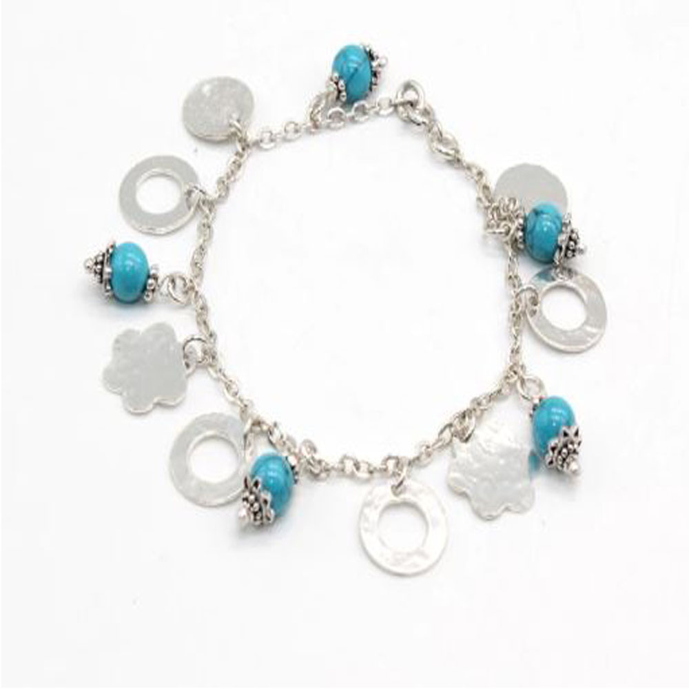 Pure Silver Bracelet with Charms and Turquoise