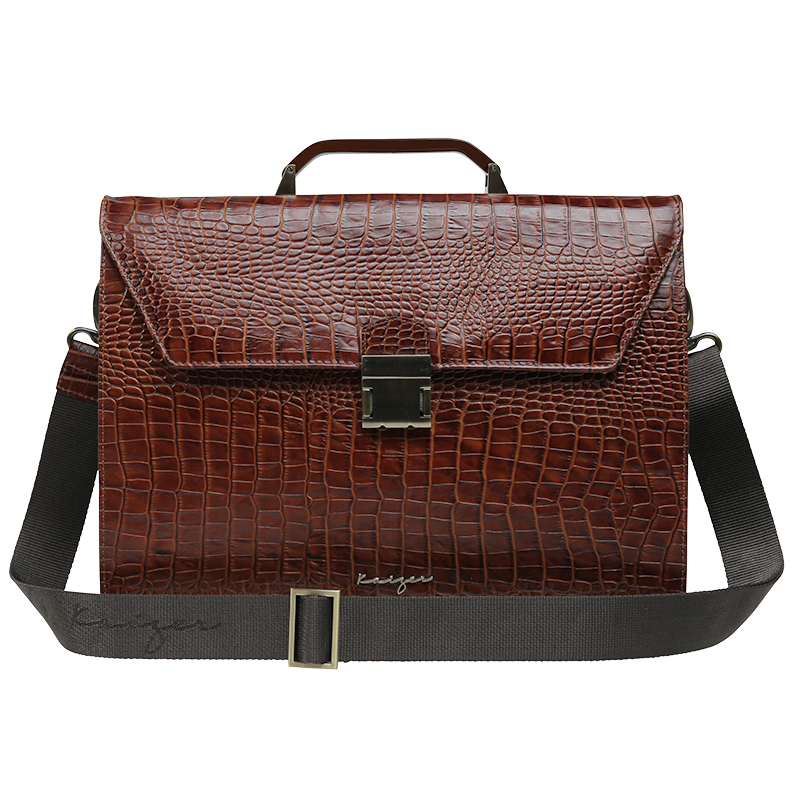 Croco Leather Laptop Bag