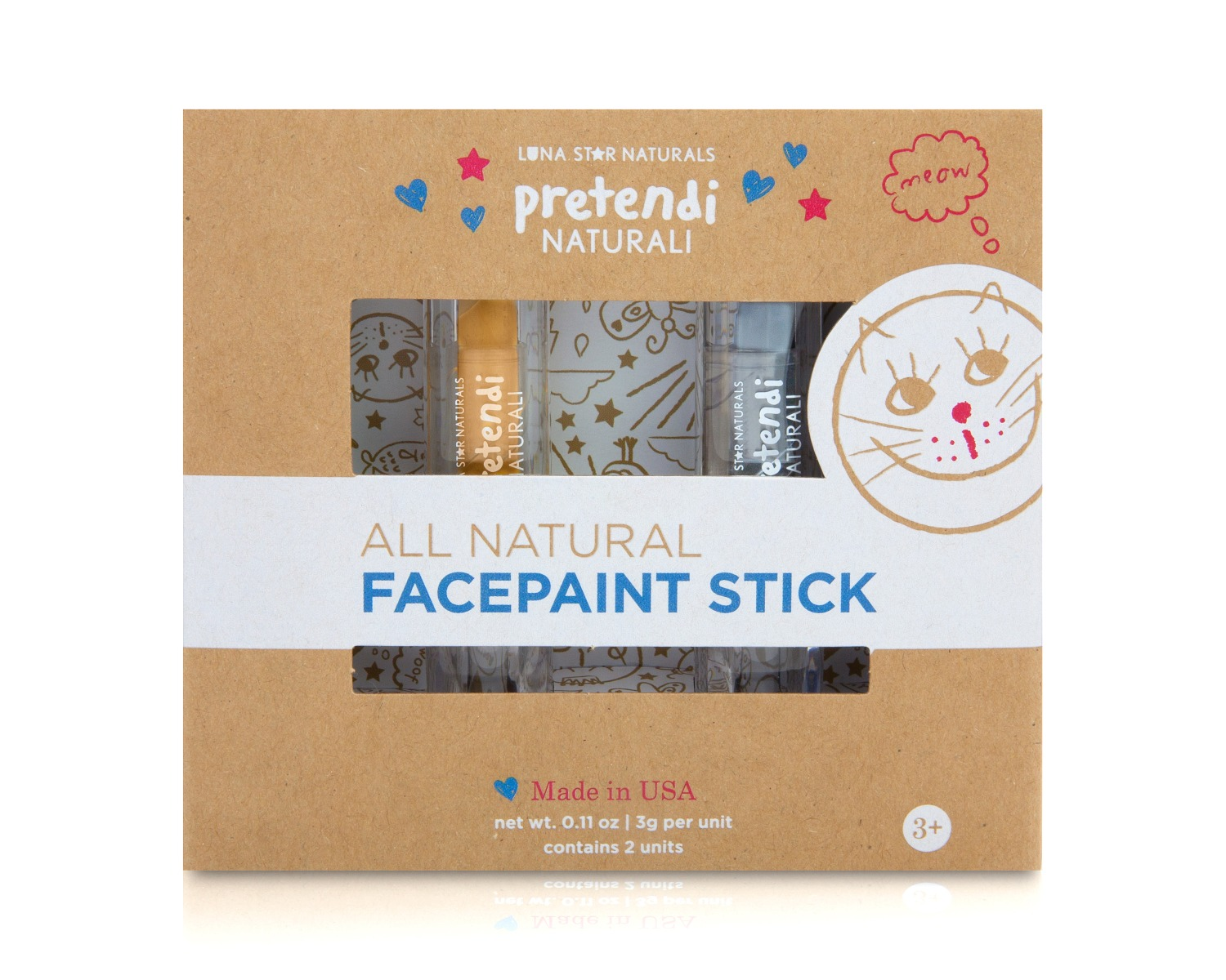 Natural Face Paint Stick Silver & Gold - Set of 2