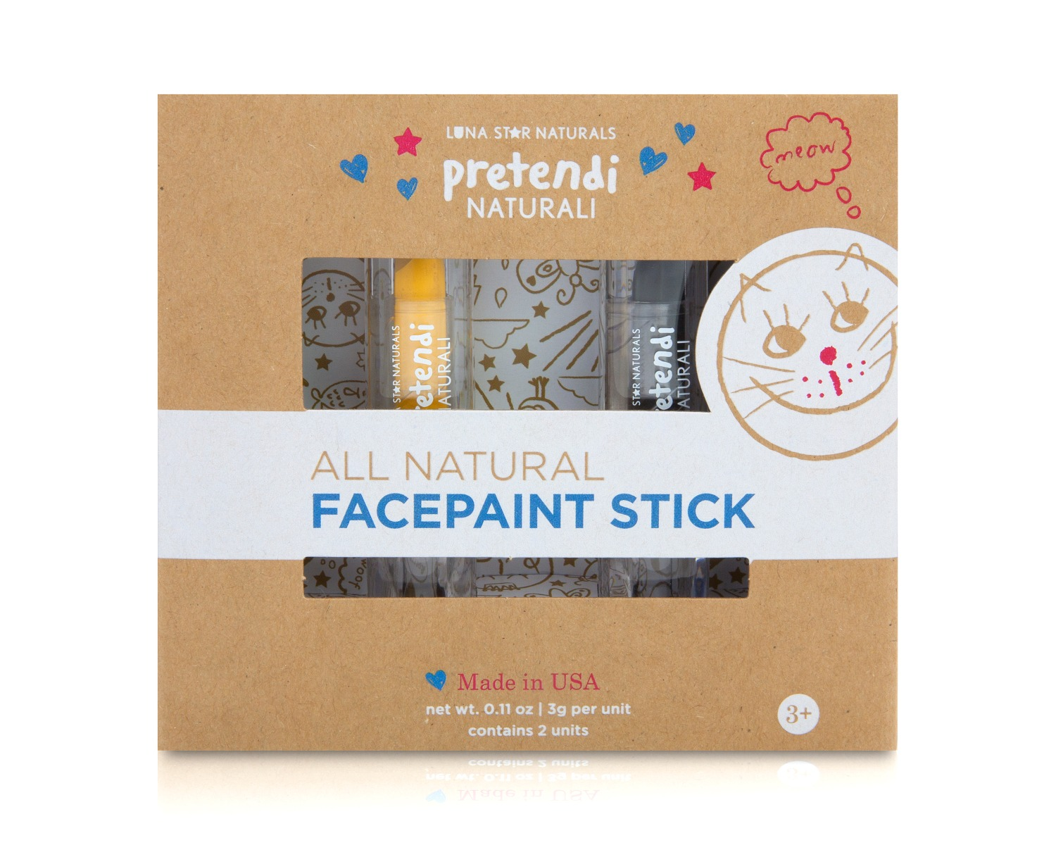 Natural Face Paint Stick Yellow & Black - Set of 2