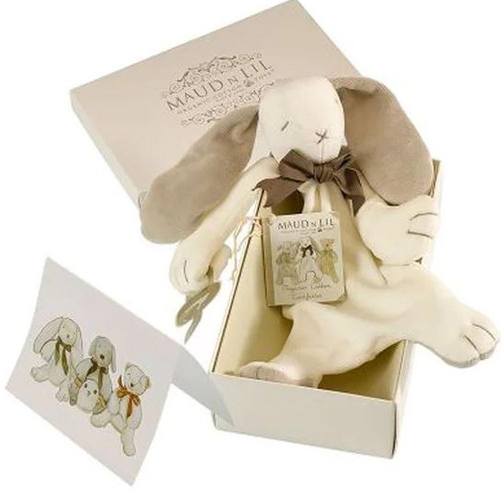 Ears The Bunny Organic Toy, White/Grey