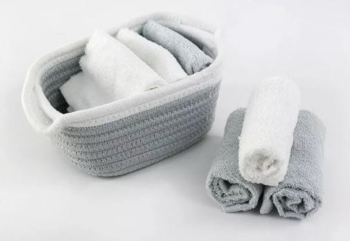 Day to Day Set of 8 Face Towel - White/Grey