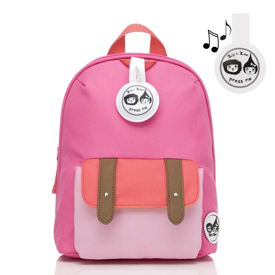 Zip and Zoe Mini Backpack+ Safety Harness (1-4Y) Hot Pink Color Block