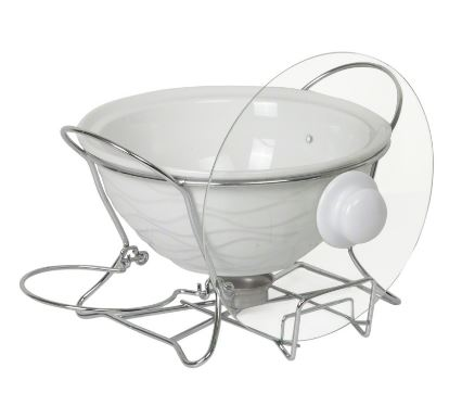 Mojo 25cm wok shape food warmer white with glass lid holder