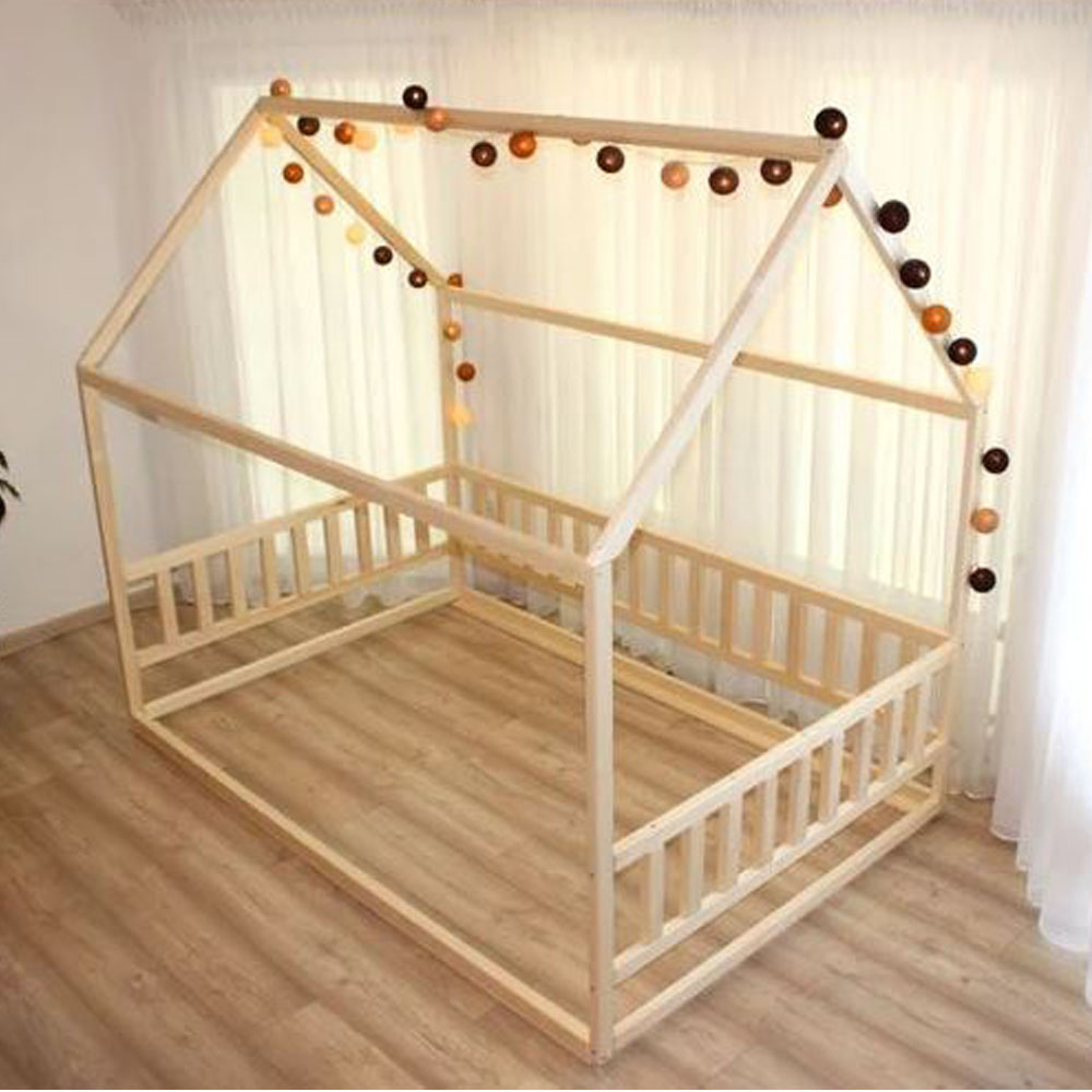 Wooden House Bed Frame with Rails