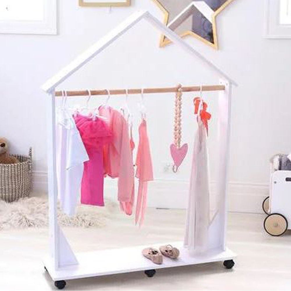 Portable Wood Dressing Up Clothes Rail