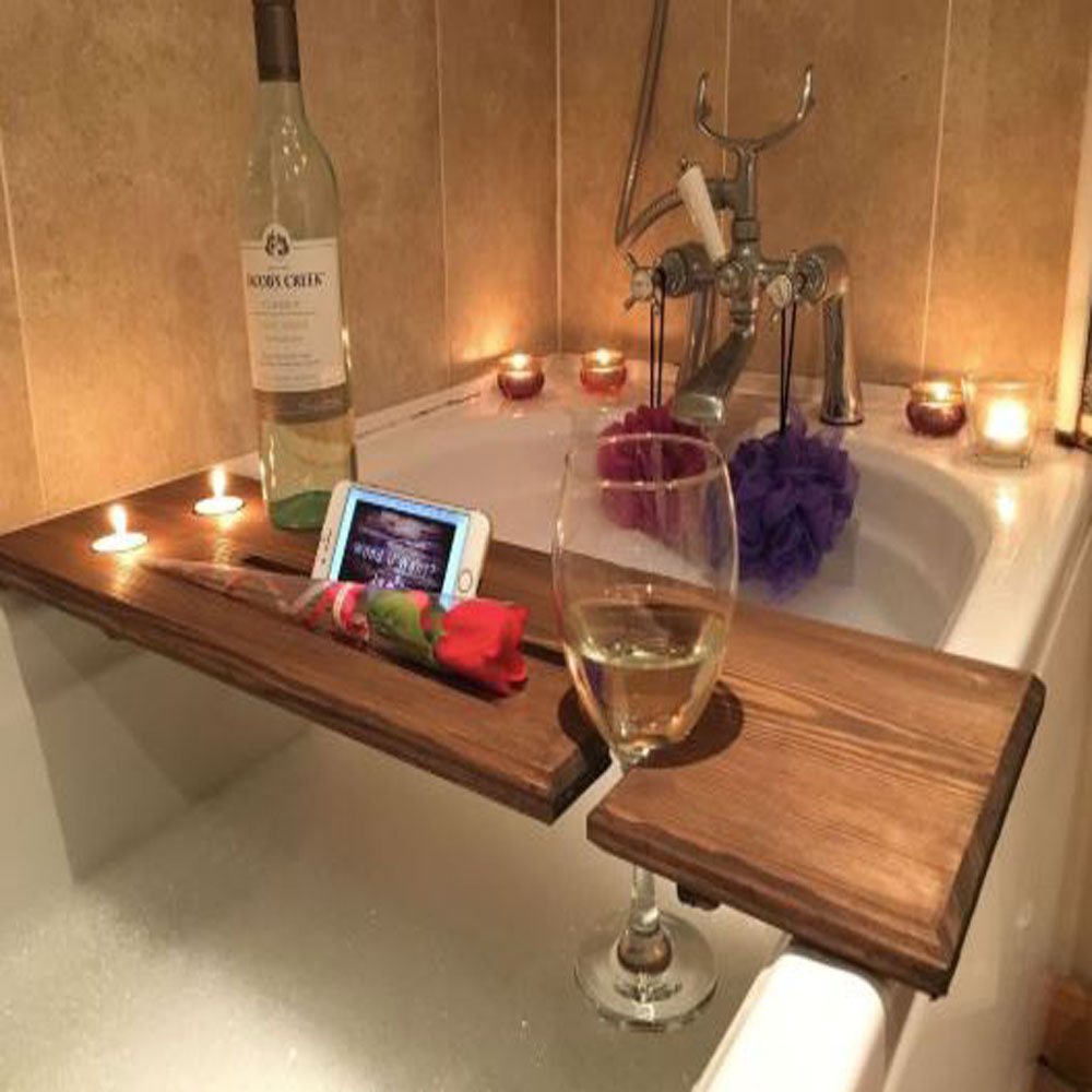 Birch Wood Relaxation Wooden Bath Board and Caddy