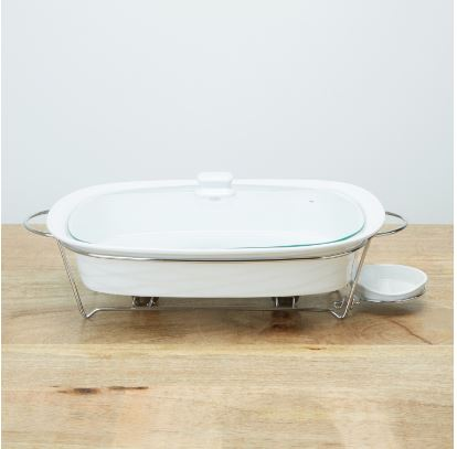 Mojo 49 cm rectangle food warmer white with glass lid holder